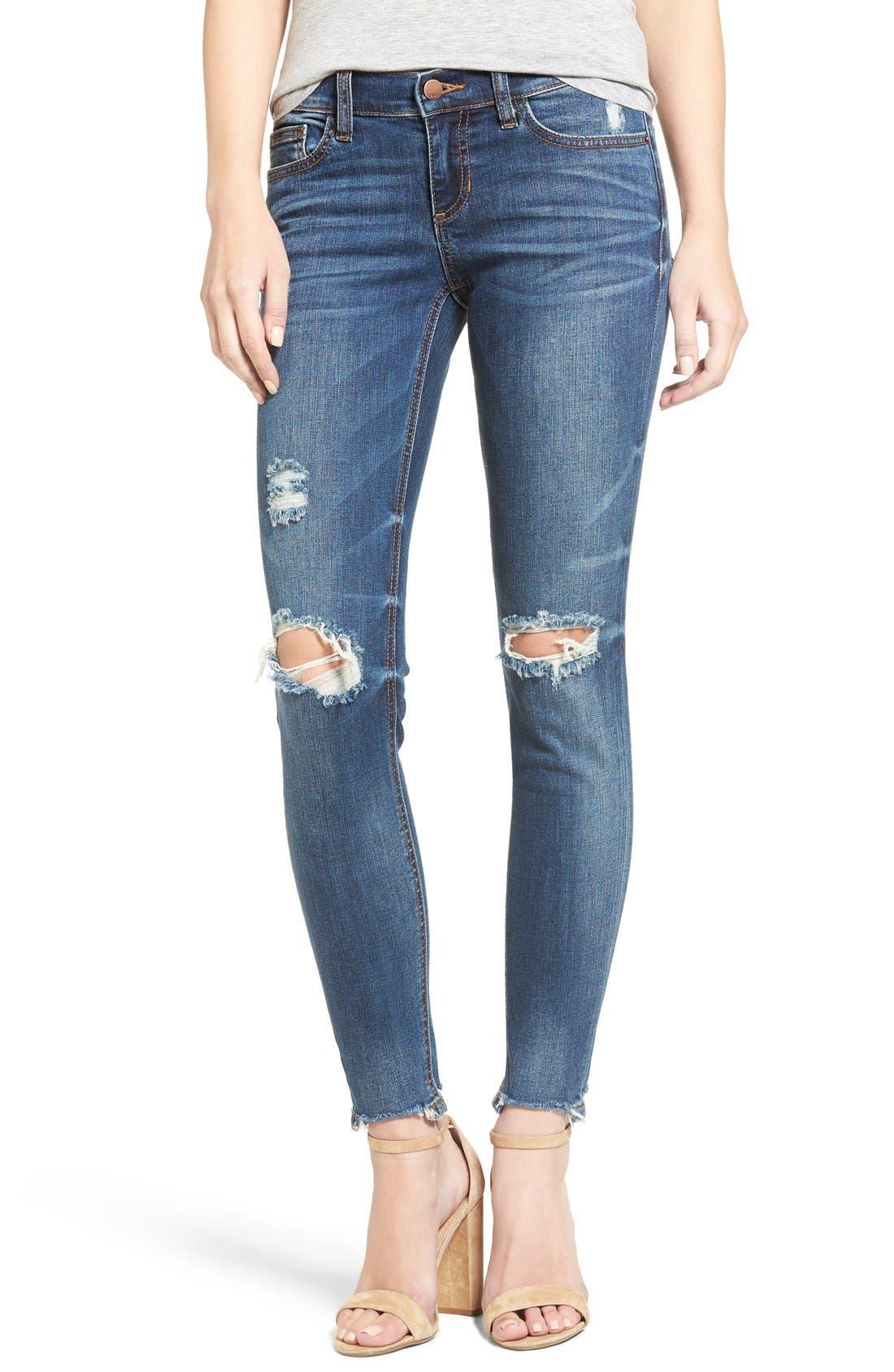 Raw Edge Skinny Jeans,                             Main thumbnail 1, color,                             Med Wash