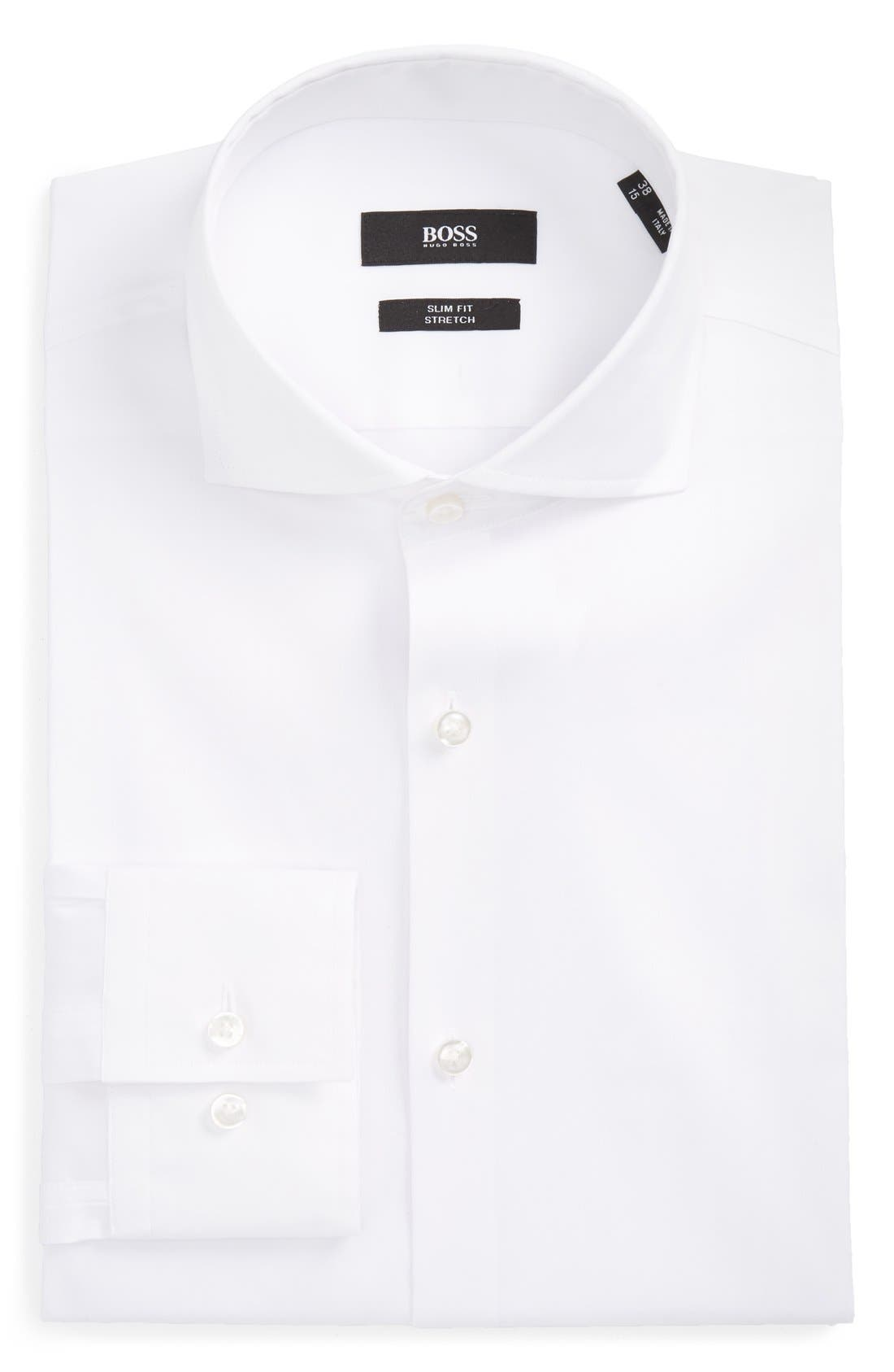 'Jason' Slim Fit Solid Stretch Dress Shirt,                             Main thumbnail 1, color,                             White