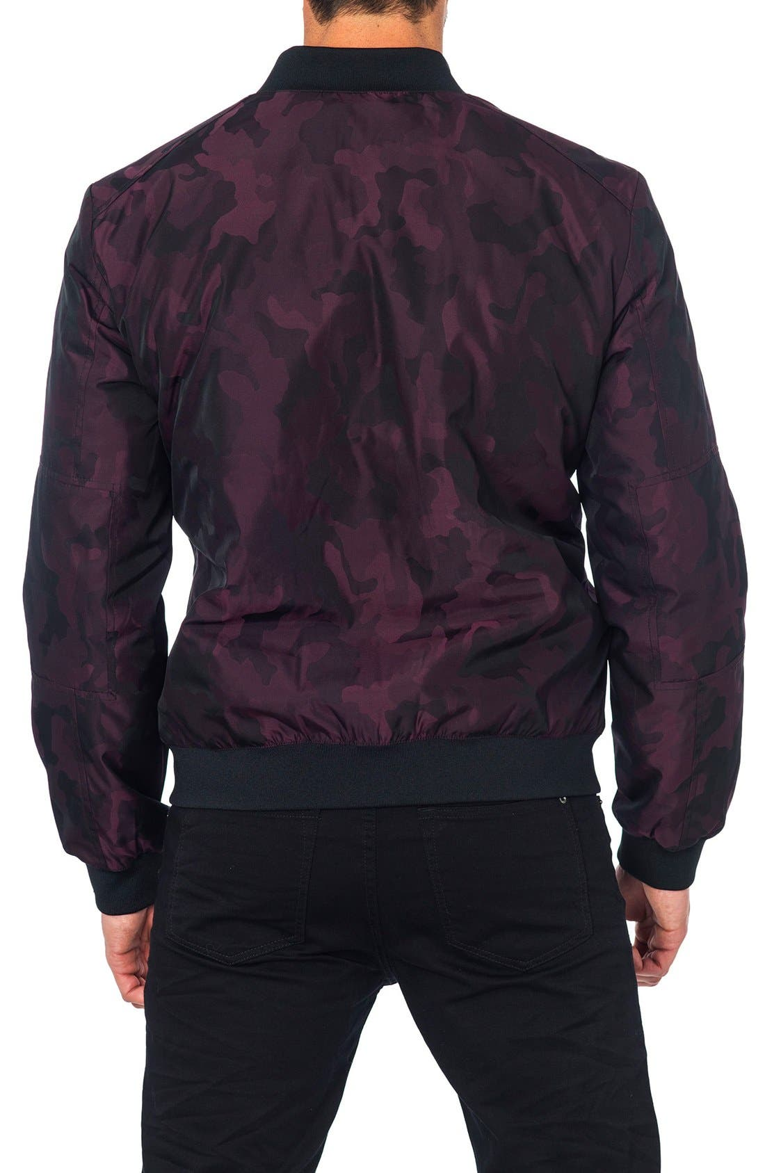 New York Reversible Bomber Jacket,                             Alternate thumbnail 2, color,                             Burgundy Camo/ Black Quilted