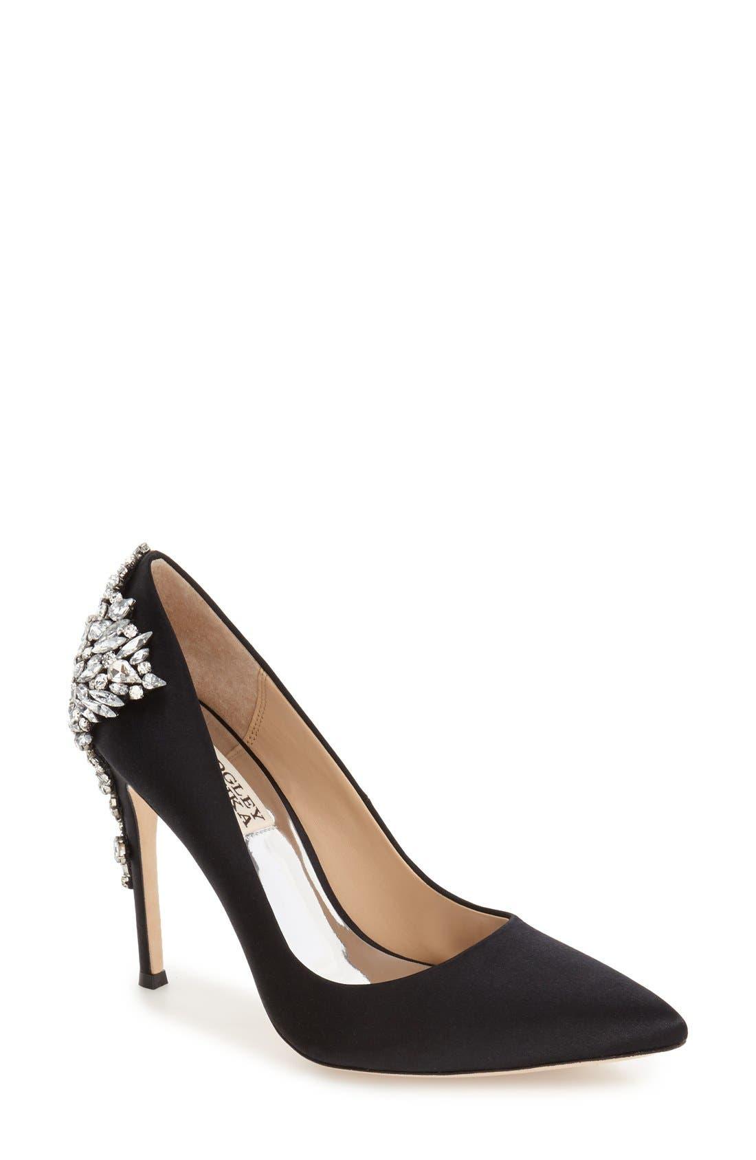 Badgley Mischka 'Gorgeous' Crystal Embellished Pointy Toe Pump (Women)