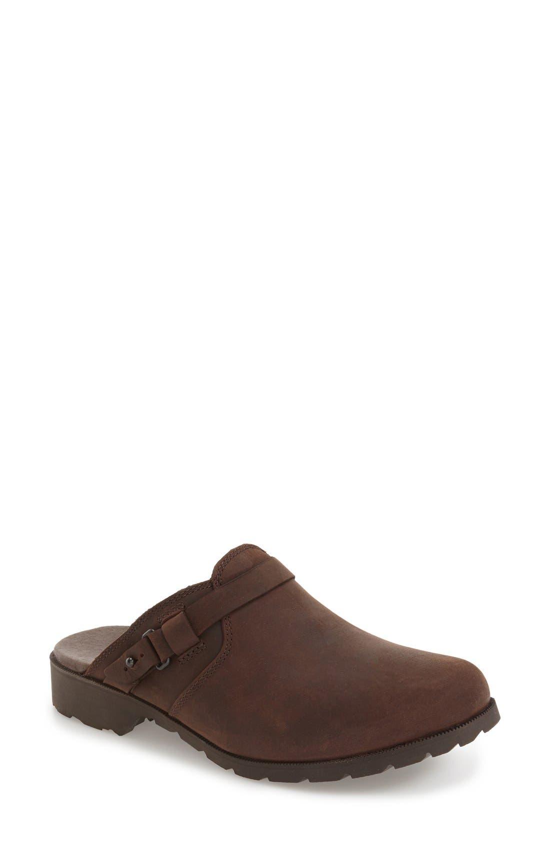 Delavina Clog,                         Main,                         color, Dark Brown Leather