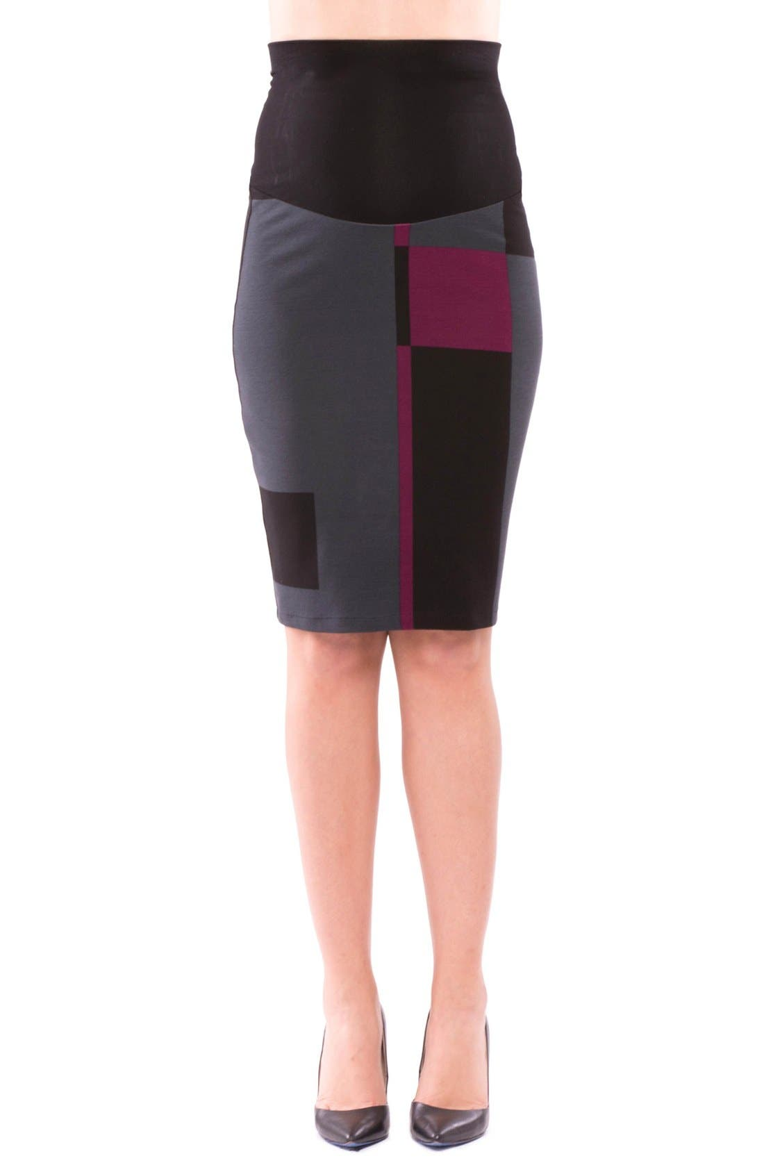 'Madison' Maternity Skirt,                         Main,                         color, Eggplant/ Black