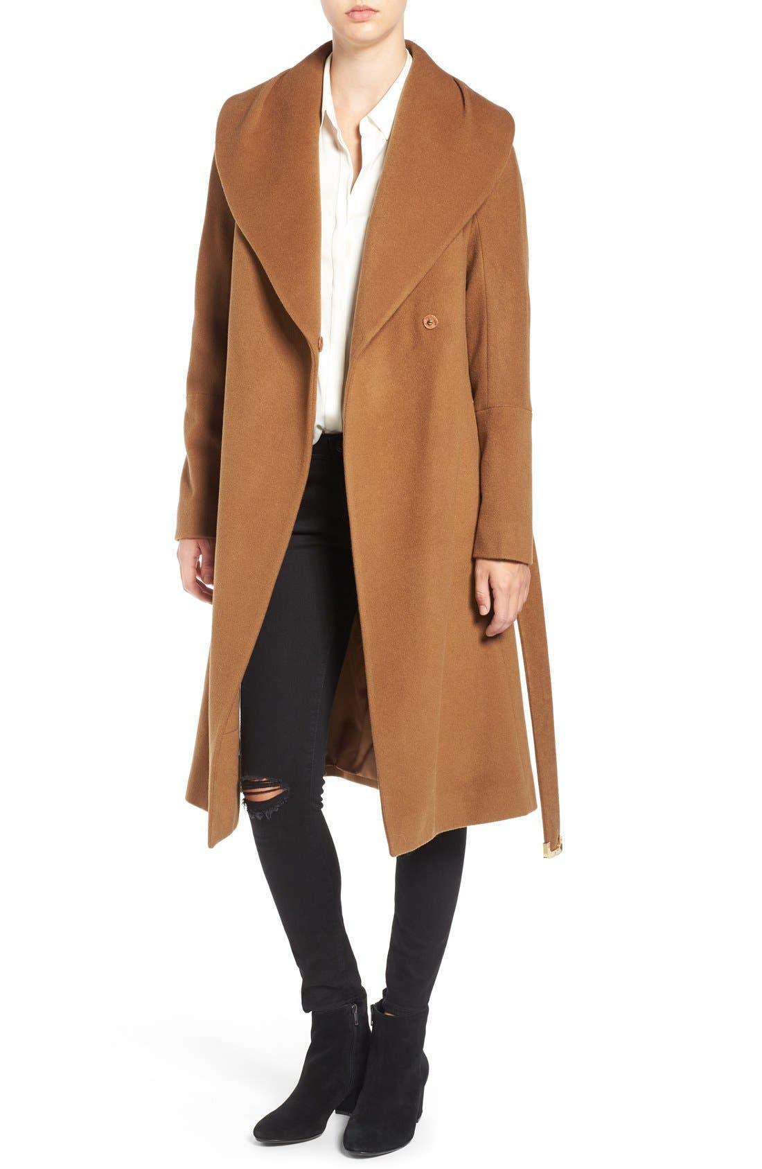 Main Image - Diane von Furstenberg Shawl Collar Wool Blend Long Wrap Coat