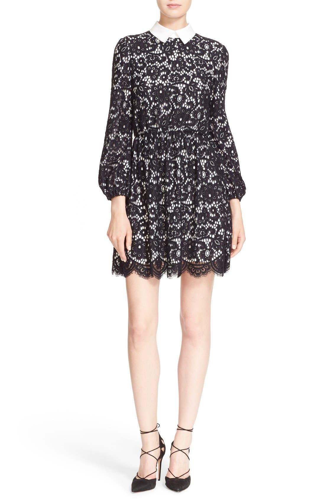 Main Image - Alice + Olivia 'Terisa' Collared Blouson Sleeve Lace Dress