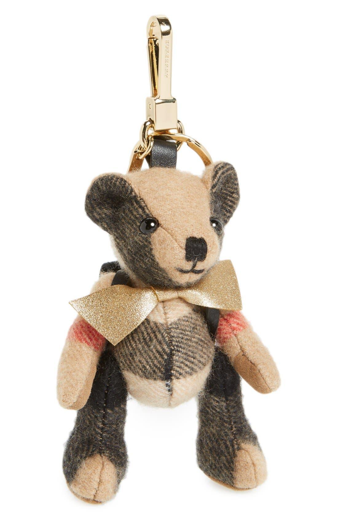 Burberry 'Thomas Rucksack Bear' Check Cashmere Bag Charm