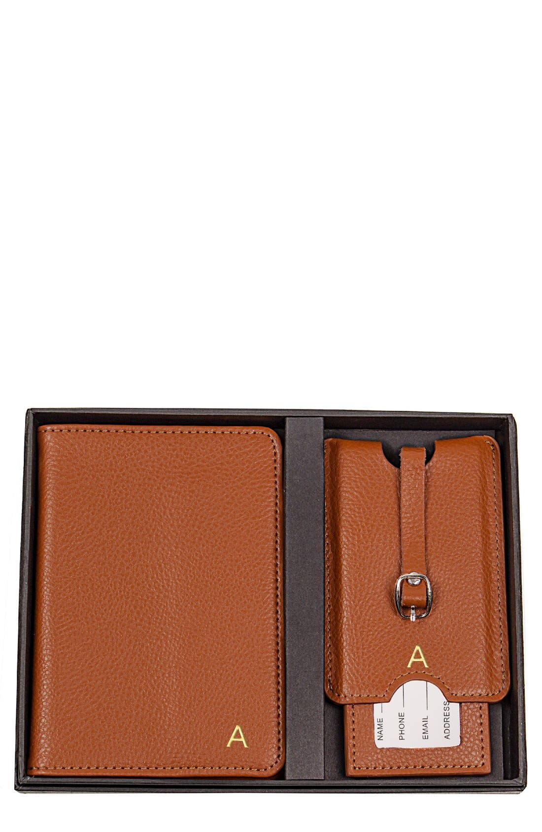 Monogram Passport Case & Luggage Tag,                             Main thumbnail 1, color,                             Brown - A