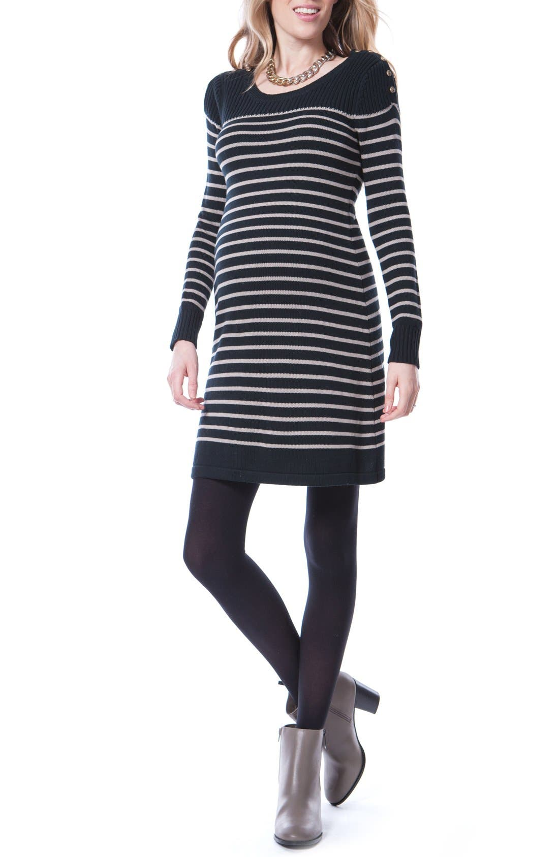 Hayden Stripe Maternity/Nursing Dress,                             Main thumbnail 1, color,                             Black/ Sand