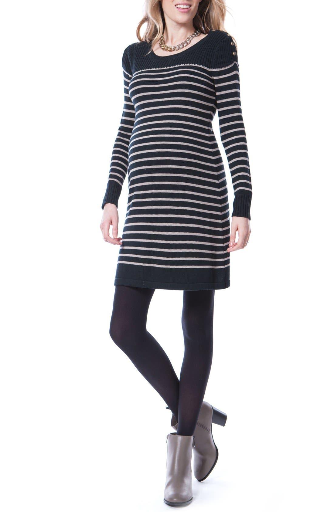 Hayden Stripe Maternity/Nursing Dress,                         Main,                         color, Black/ Sand