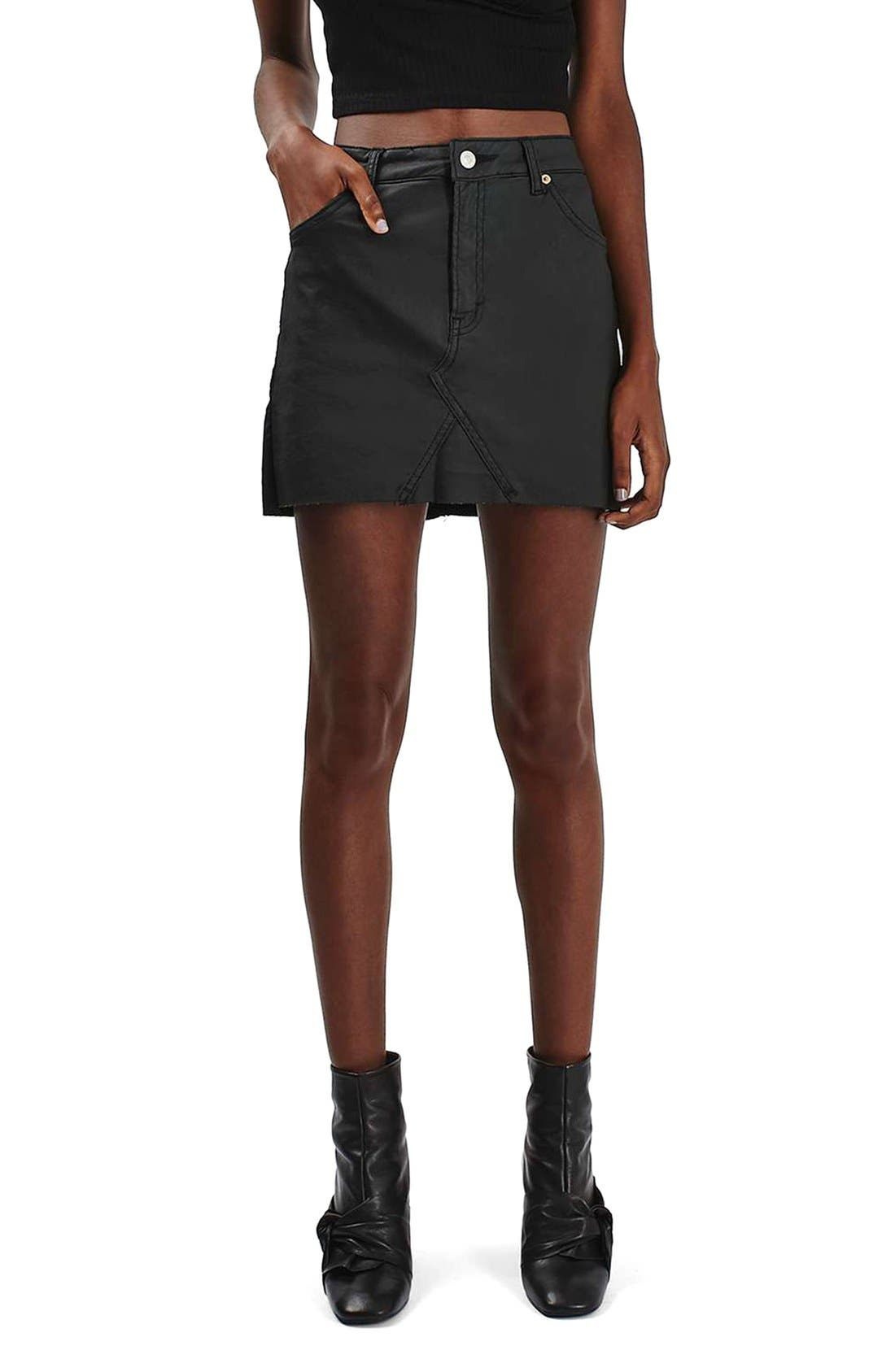 Main Image - Topshop Coated Stretch Denim Miniskirt