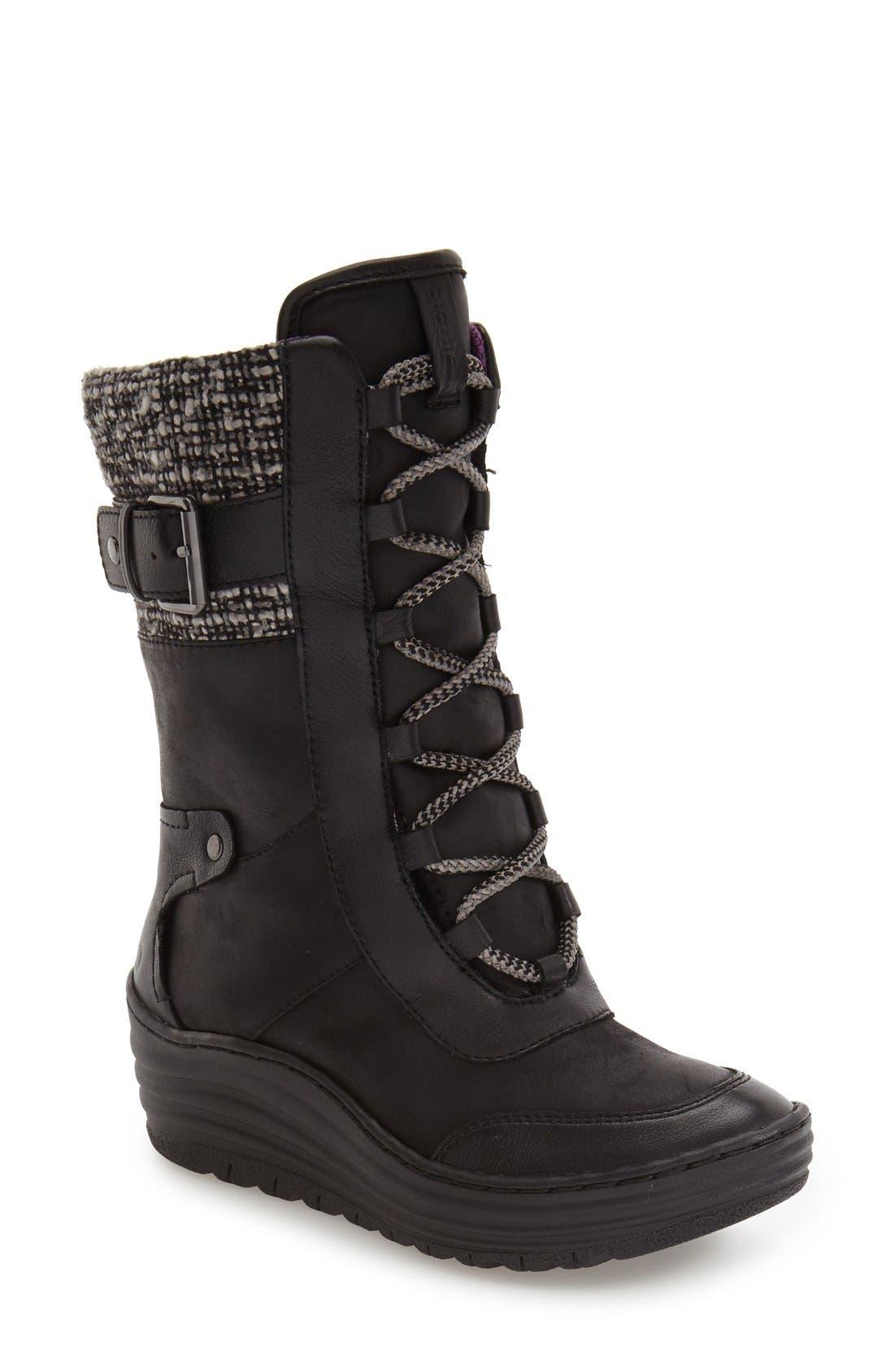 Garland Waterproof Wedge Boot,                             Main thumbnail 1, color,                             Black Waterproof Leather