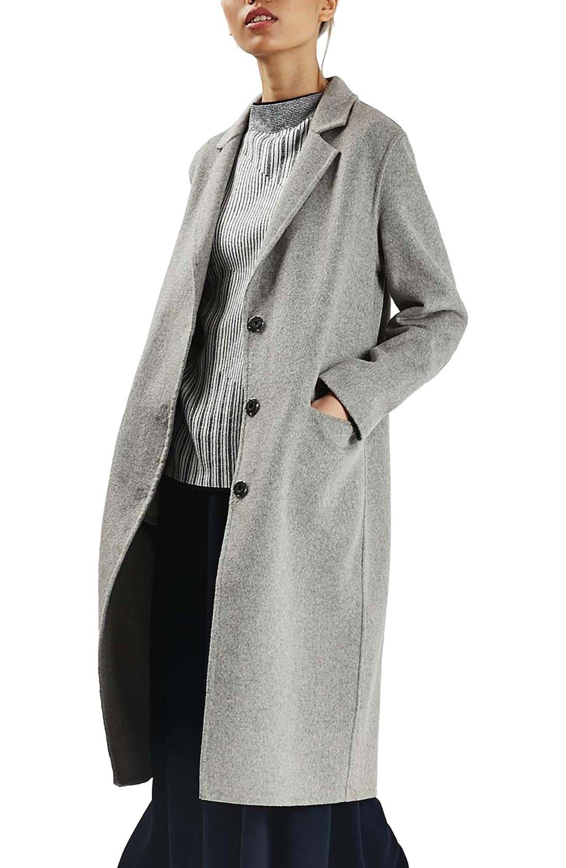 Snap Button Three-Quarter Coat,                         Main,                         color, Grey