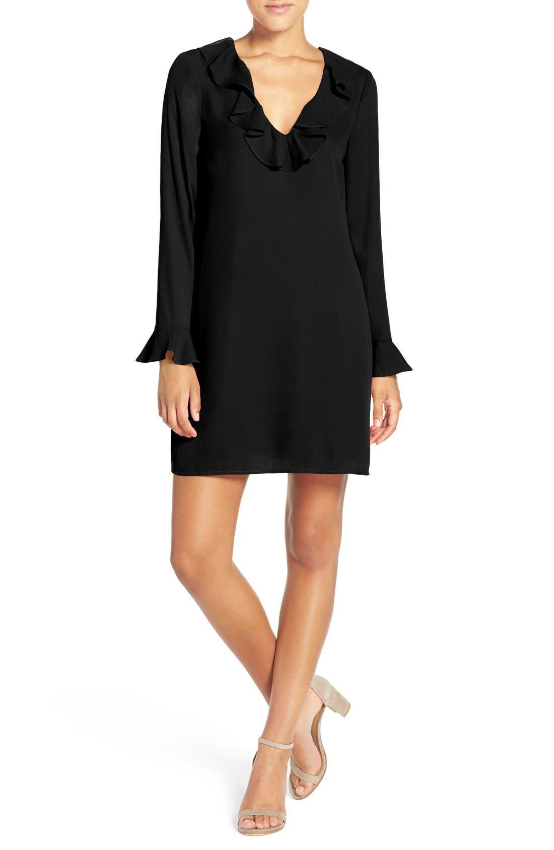 Ruffle Neck Shift Dress,                             Main thumbnail 1, color,                             Black