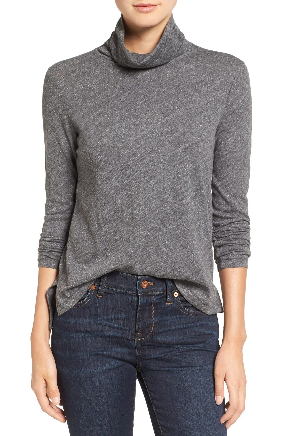 Alternate Image 1 Selected - Madewell Whisper Cotton Turtleneck Top