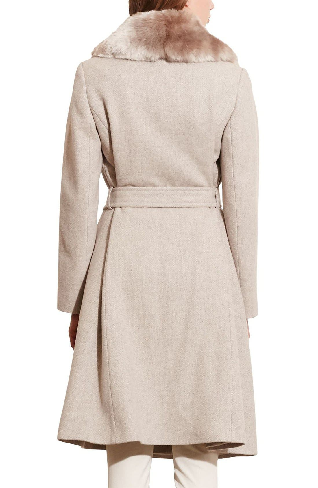 Alternate Image 2  - Lauren Ralph Lauren Faux Fur Collar Wool Blend Long Wrap Coat