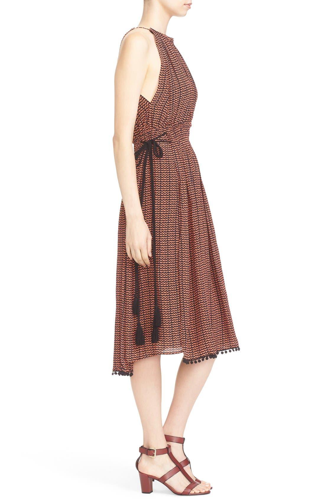 'Lippard' Tassel Trim Silk Dress,                             Alternate thumbnail 3, color,                             Tiny Ripples Print