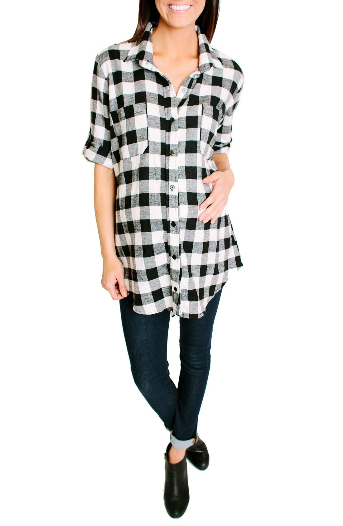 Nom Maternity 'Campbell' Plaid Maternity Top
