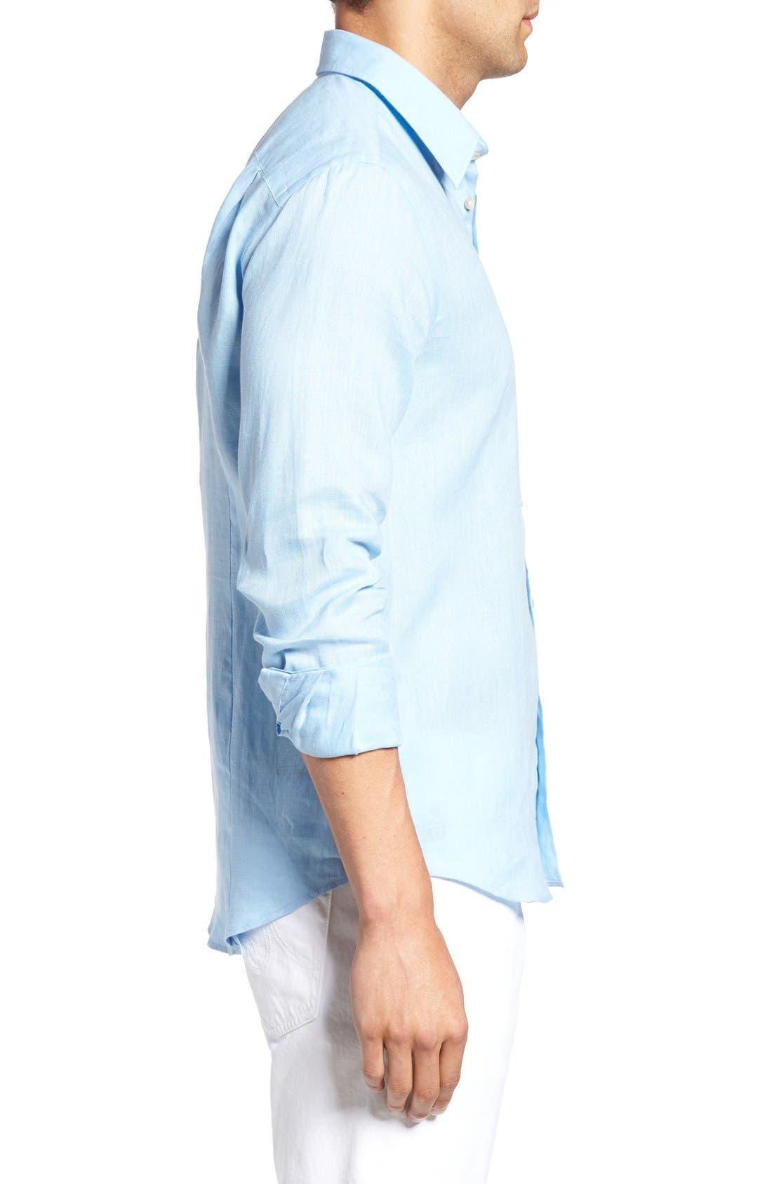 Caroubie Regular Fit Linen Sport Shirt,                             Alternate thumbnail 4, color,                             Sky Blue