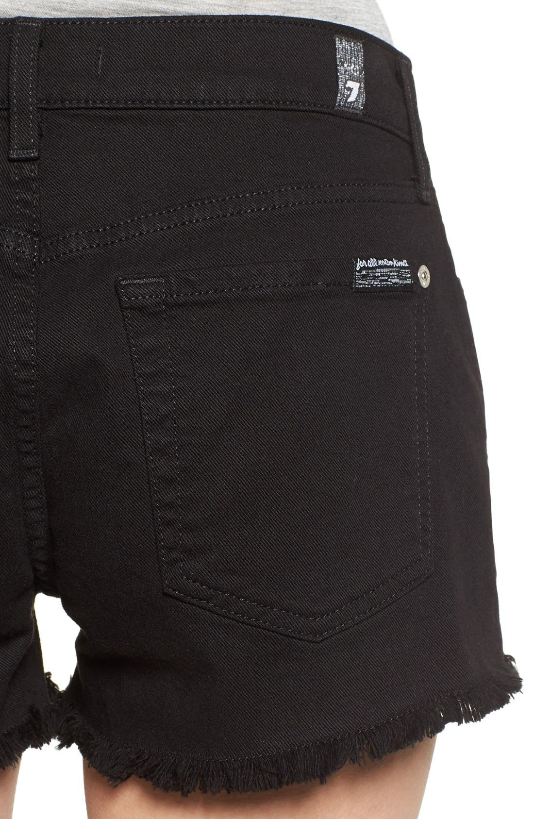 Cutoff Shorts,                             Alternate thumbnail 4, color,                             Black