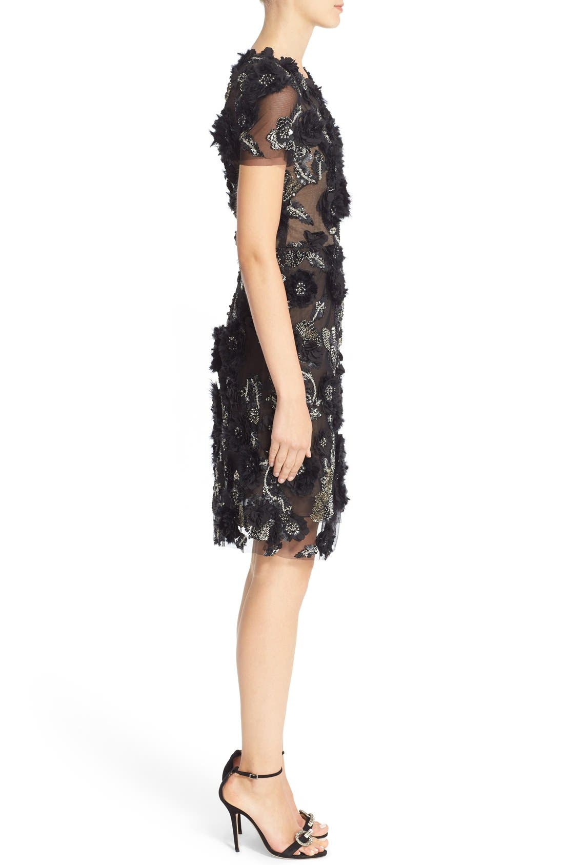 Alternate Image 4  - Marchesa Cap Sleeve Tulle Dress with 3D Floral Embellishments