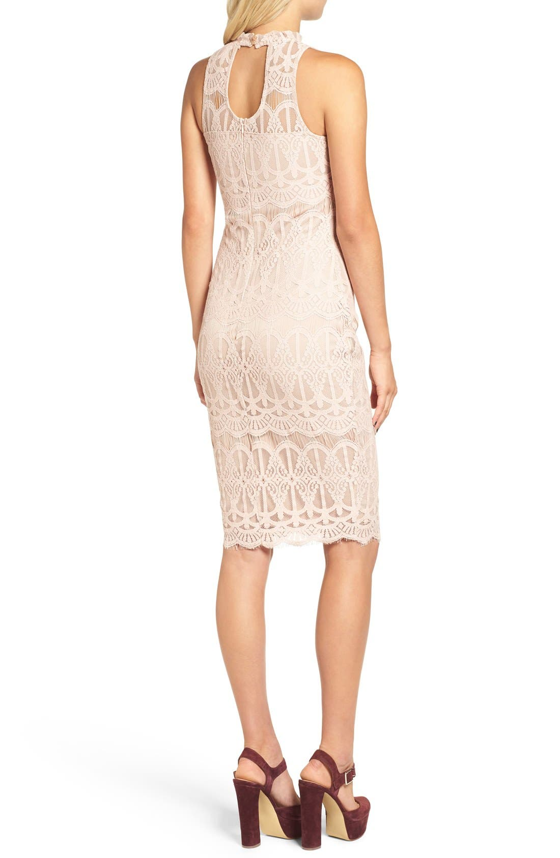 Alternate Image 2  - Fire Mock Neck Lace Sheath Dress
