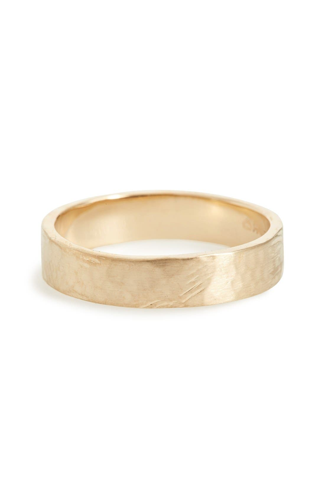 Harmony<sup>®</sup> Flat Classic Hammered Band Ring,                         Main,                         color, Yellow