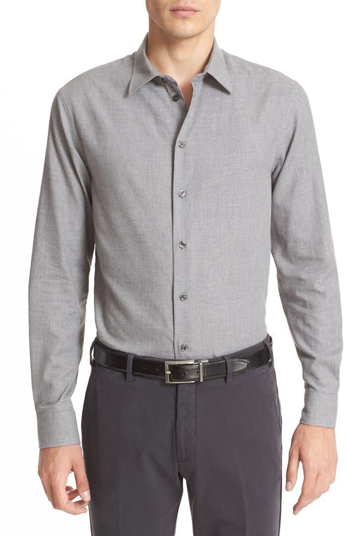 Armani collezioni trim fit flannel cotton sport shirt for Trim fit flannel shirts