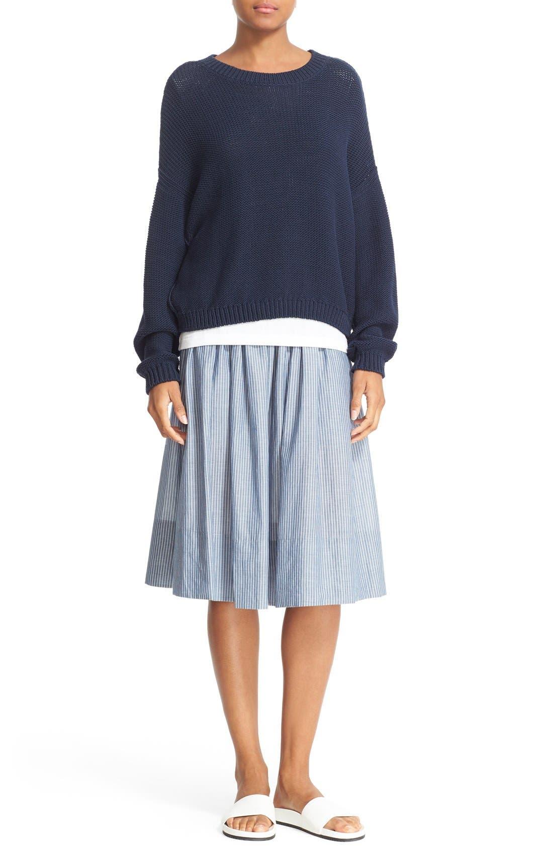 Alternate Image 2  - Vince Shirred Stripe Full Cotton Skirt