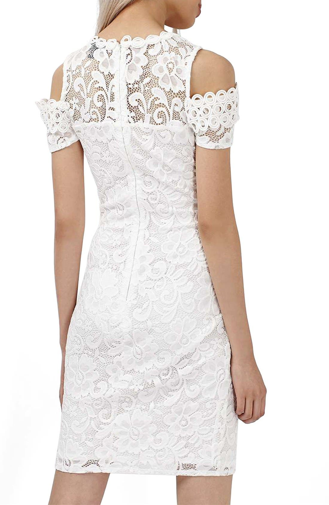 Alternate Image 2  - Topshop Cold Shoulder Lace Body-Con Dress