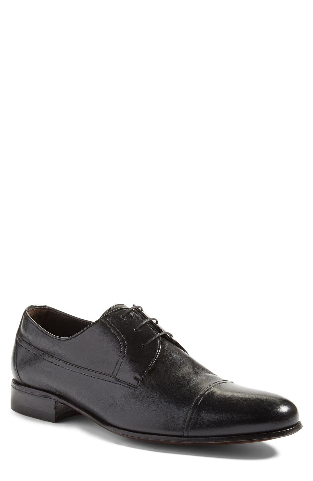 Cap Toe Derby,                         Main,                         color, Black Leather