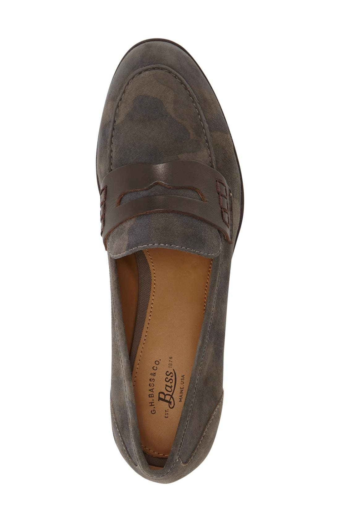 Emilia Penny Loafer,                             Alternate thumbnail 3, color,                             Camo/ Espresso Suede