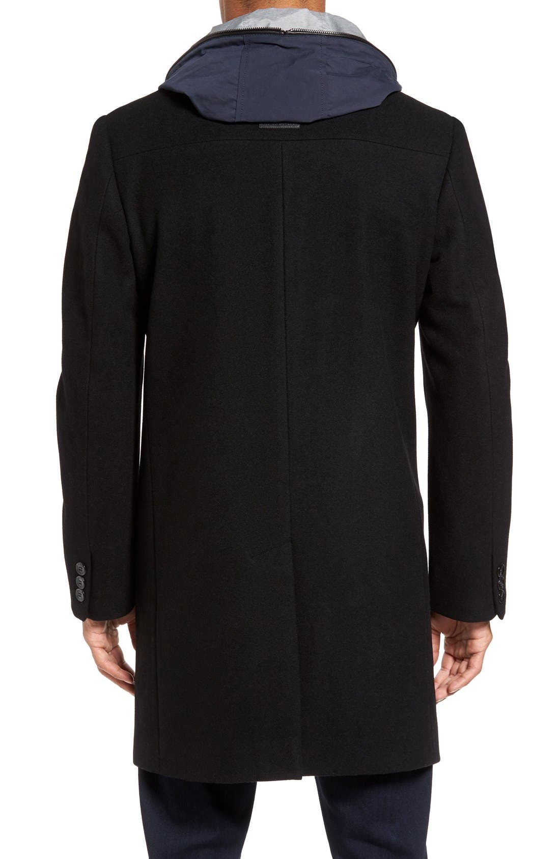 Hooded Campus Coat,                             Alternate thumbnail 2, color,                             Black