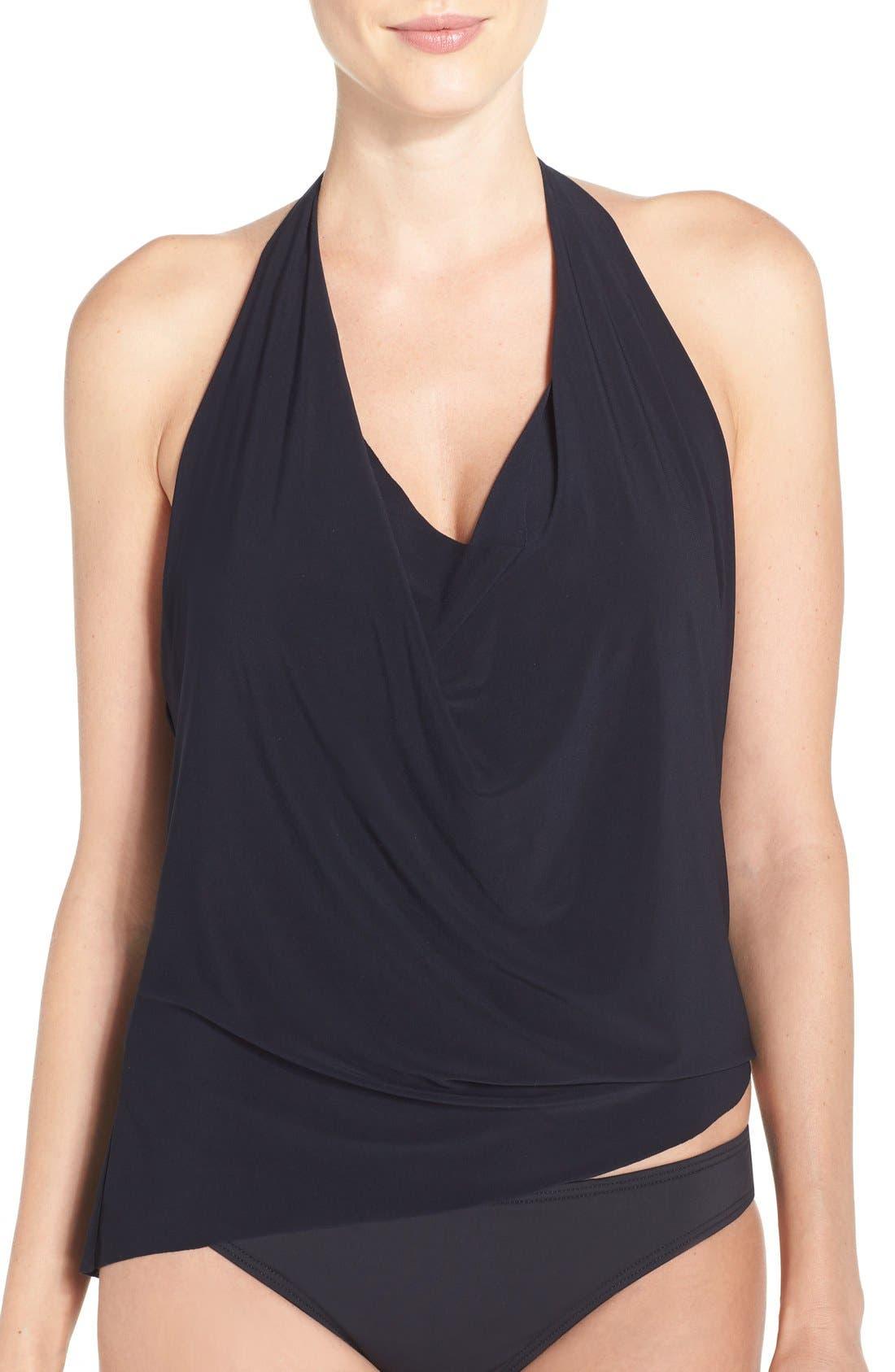 Sophie Shelf Bra Tankini Top,                         Main,                         color, Black