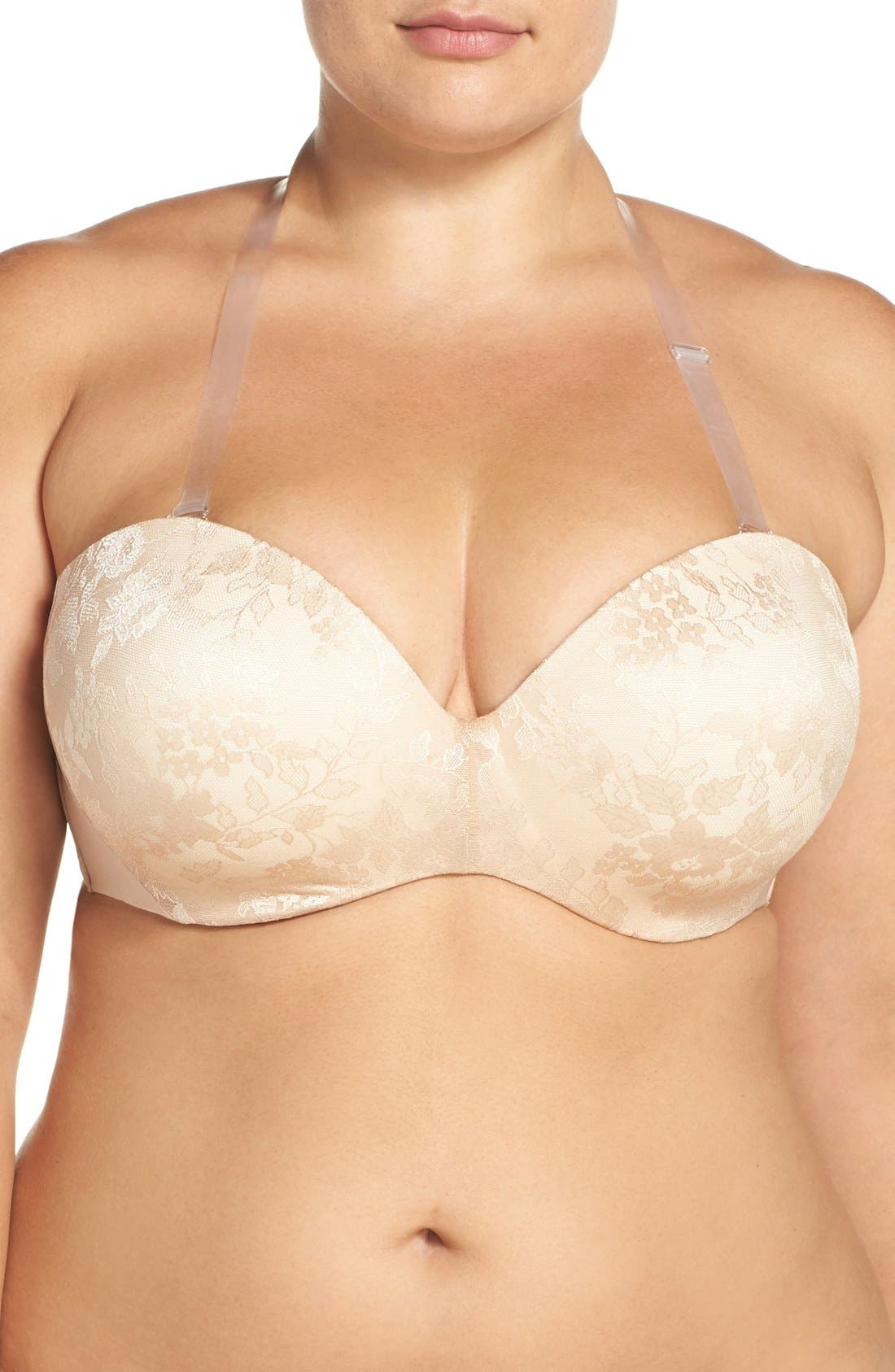 Strapless Underwire Push-Up Bra,                             Alternate thumbnail 2, color,                             Nude