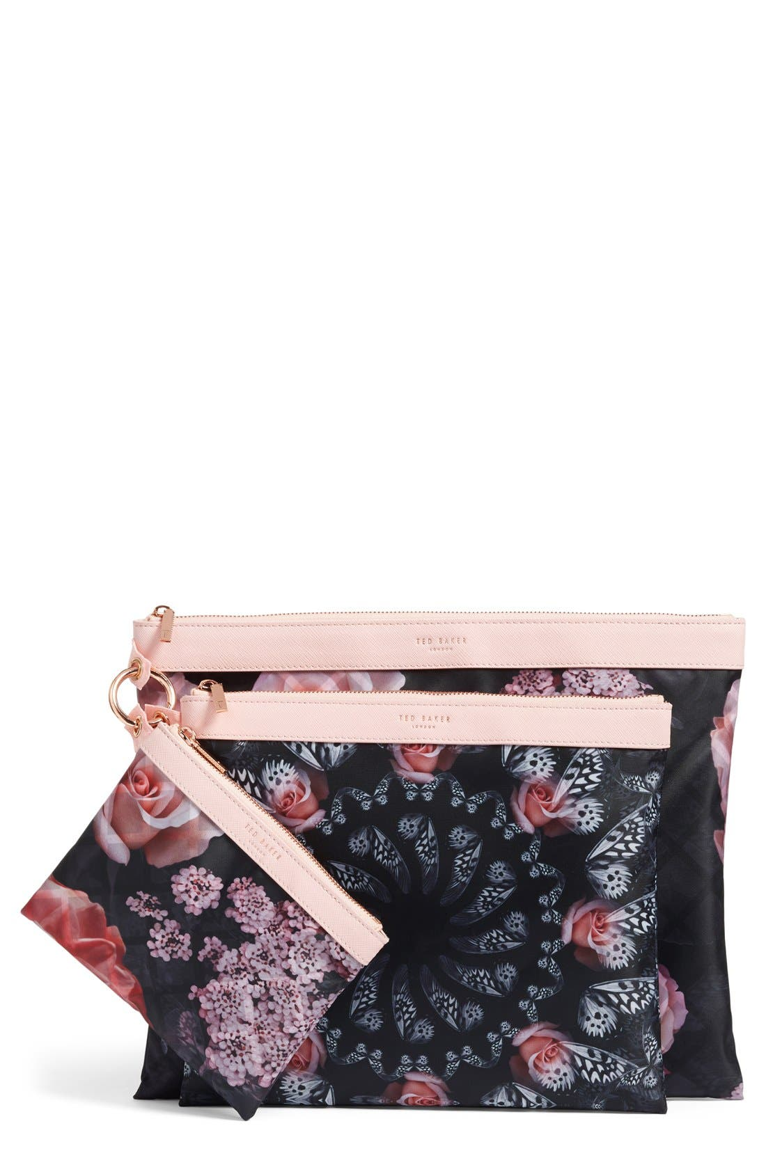 Main Image - Ted Baker London Dynamic Butterfly Print 3-Pack Travel Pouch