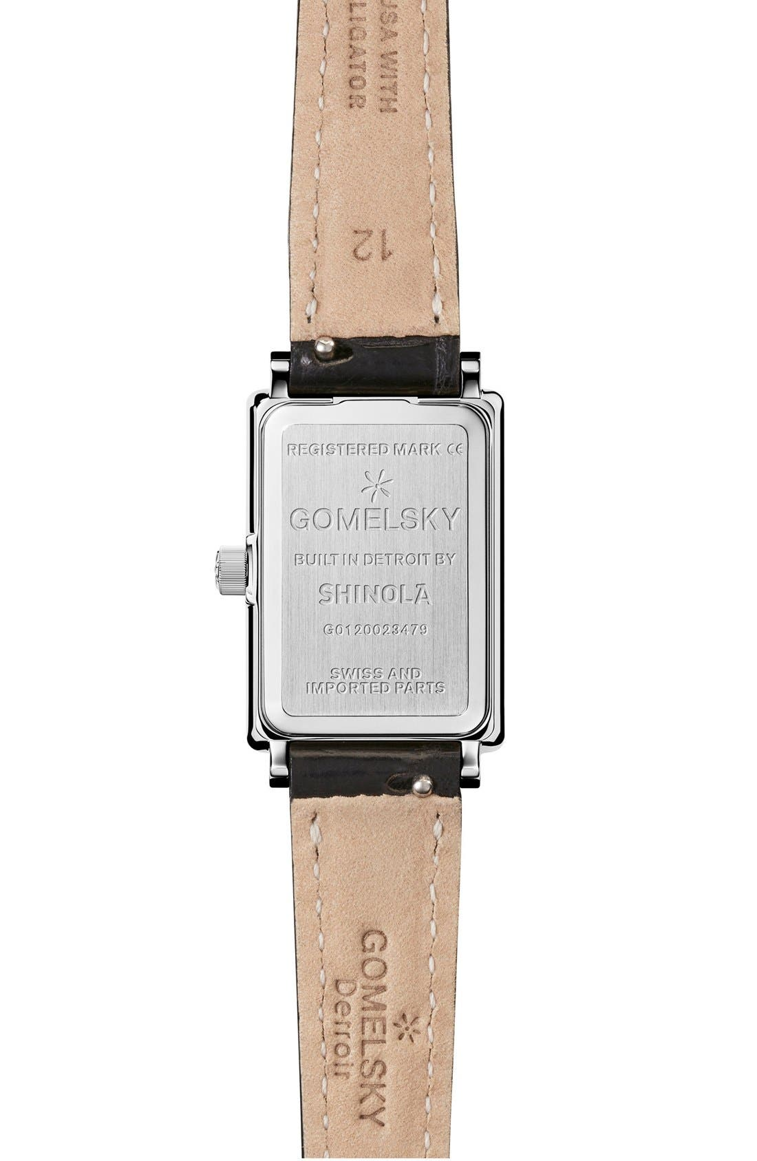 The Shirley Fromer Alligator Strap Watch, 18mm x 26mm,                             Alternate thumbnail 2, color,                             Black/ White Mother Of Pearl