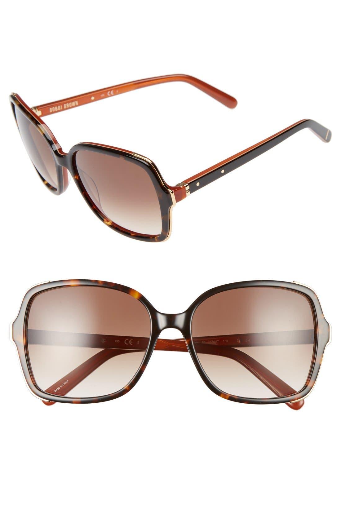 'The Alice' 57mm Sunglasses,                             Main thumbnail 1, color,                             Havana/ Brown