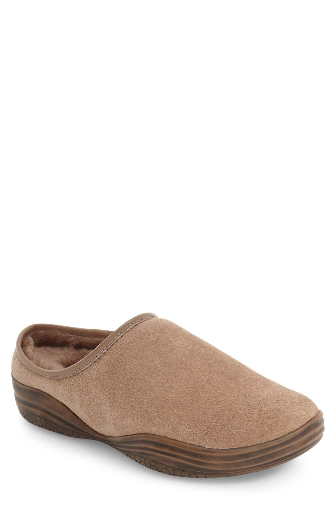 'Stamford' Genuine Shearling Clog Slipper,                         Main,                         color, Stone Shearling/ Leather