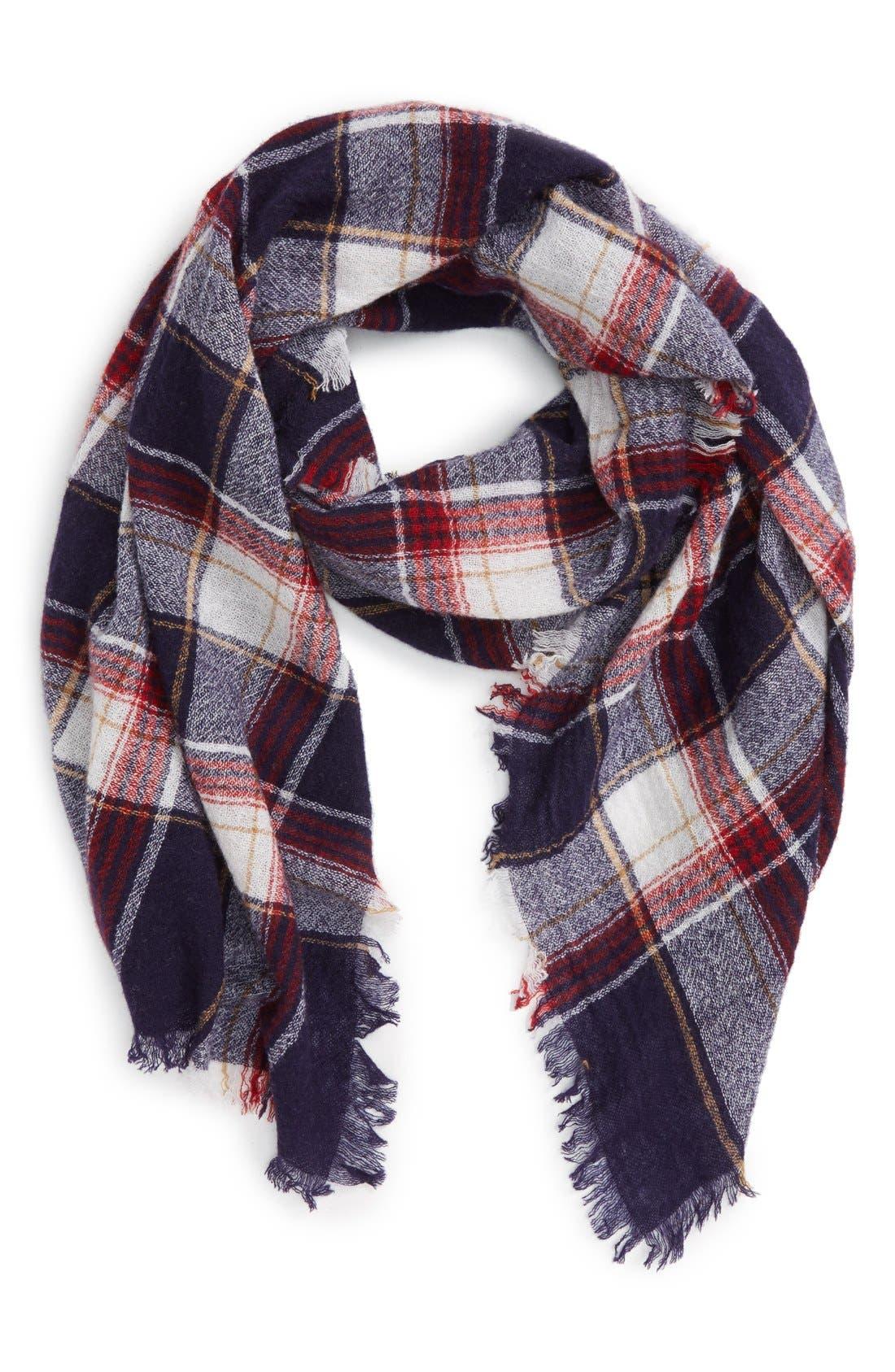 'Range' Plaid Wool Scarf,                         Main,                         color, Dark Midnight