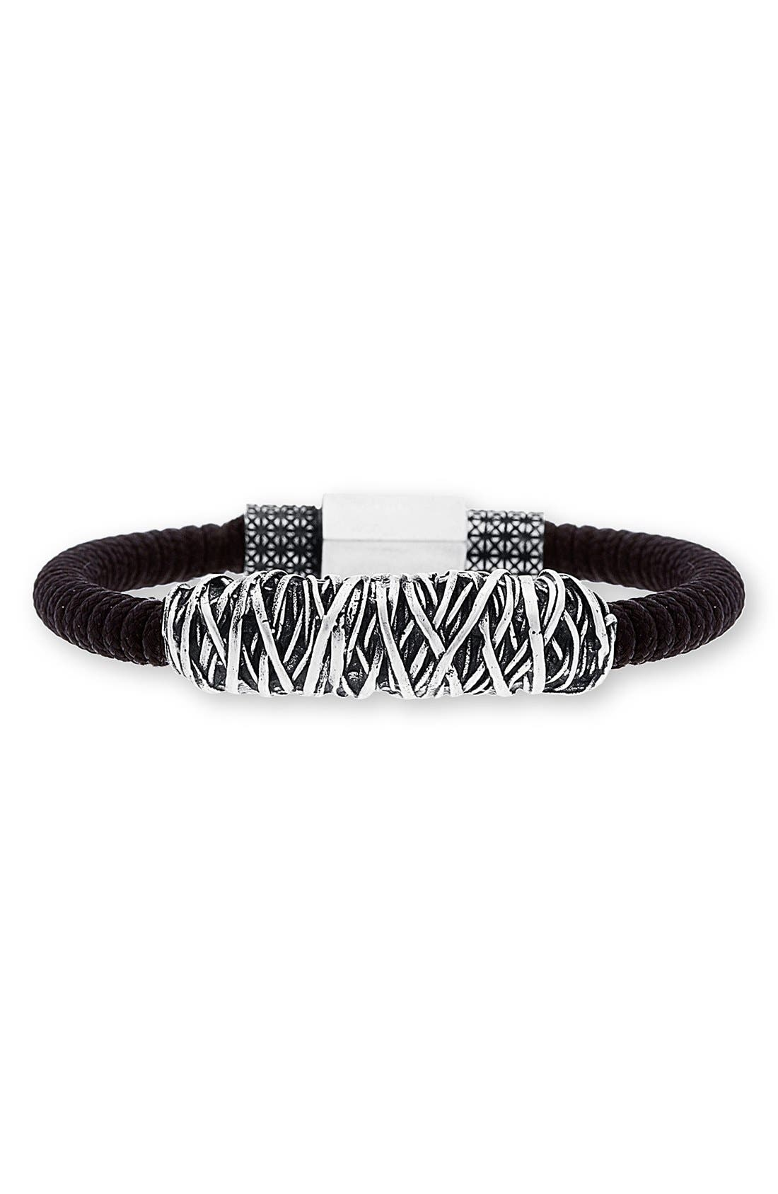 Twisted Metal Cord Bracelet,                         Main,                         color, Black