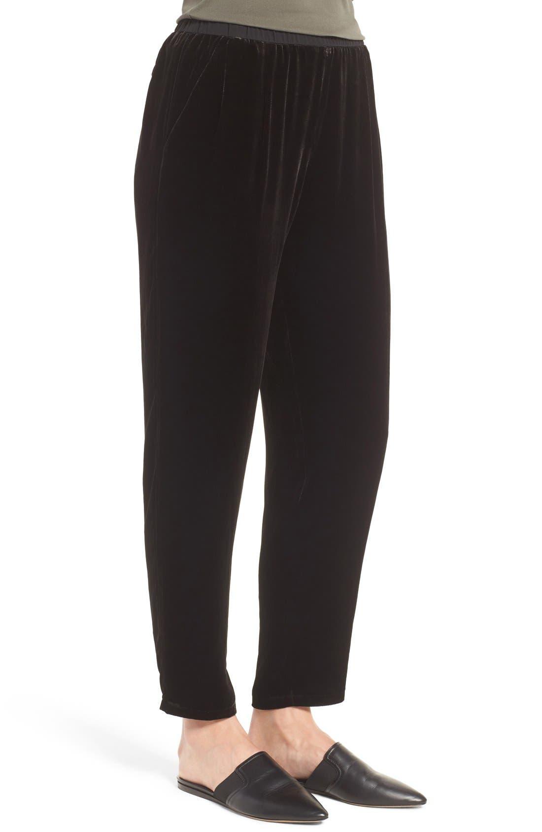 Velvet Ankle Pants,                             Alternate thumbnail 3, color,                             Black