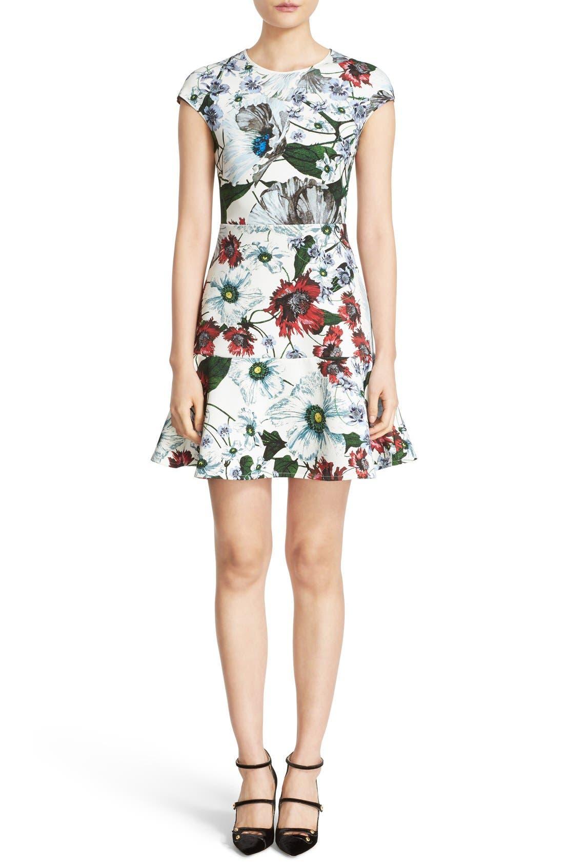 Darlna Floral Print Neoprene Flutter Hem Dress,                         Main,                         color, White/ Red