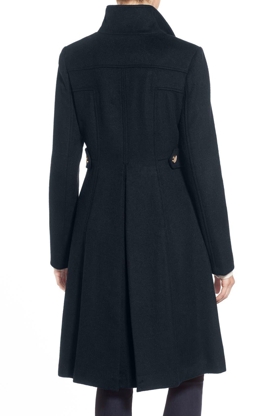 Alternate Image 2  - Eliza J Wool Blend Long Military Coat (Regular & Petite)