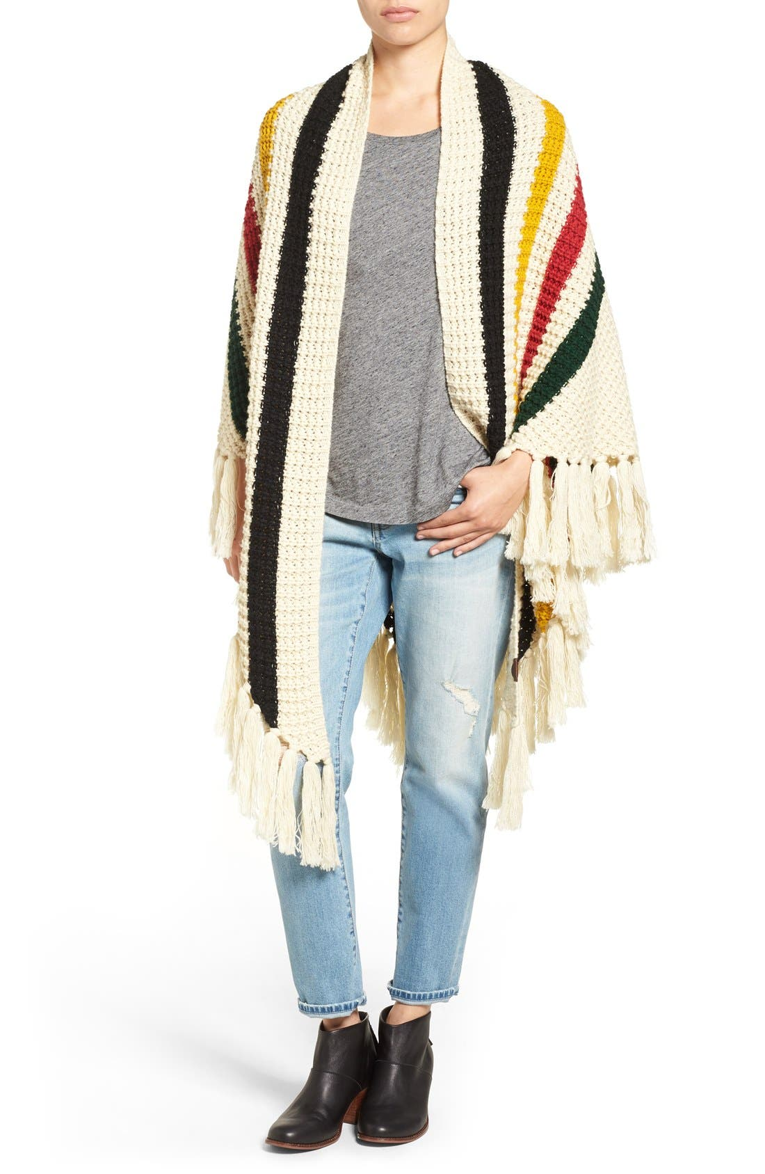 Alternate Image 1 Selected - Pendleton Stripe Chunky Fringe Wrap