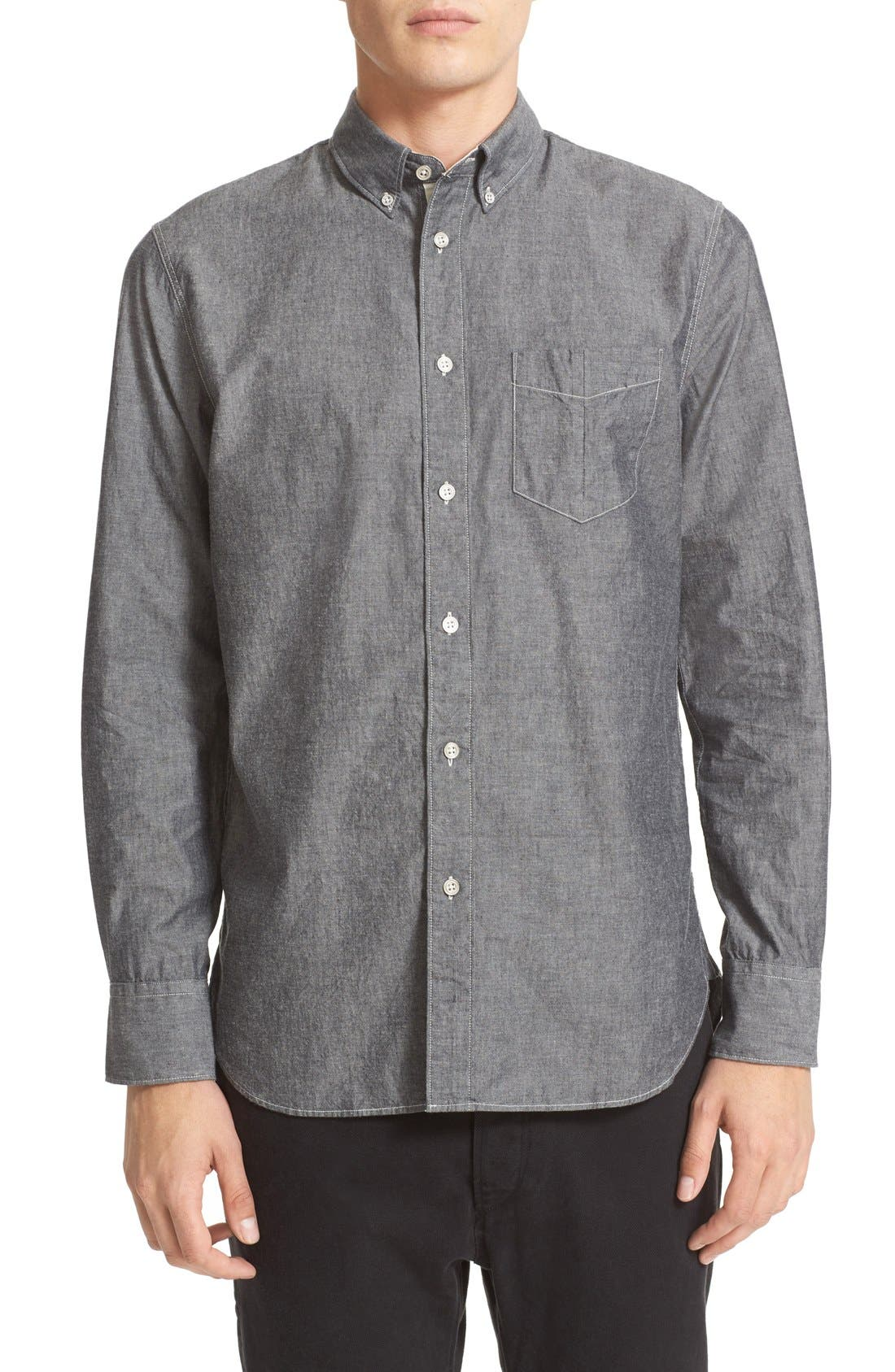 Trim Fit Chambray Shirt,                         Main,                         color, Grey