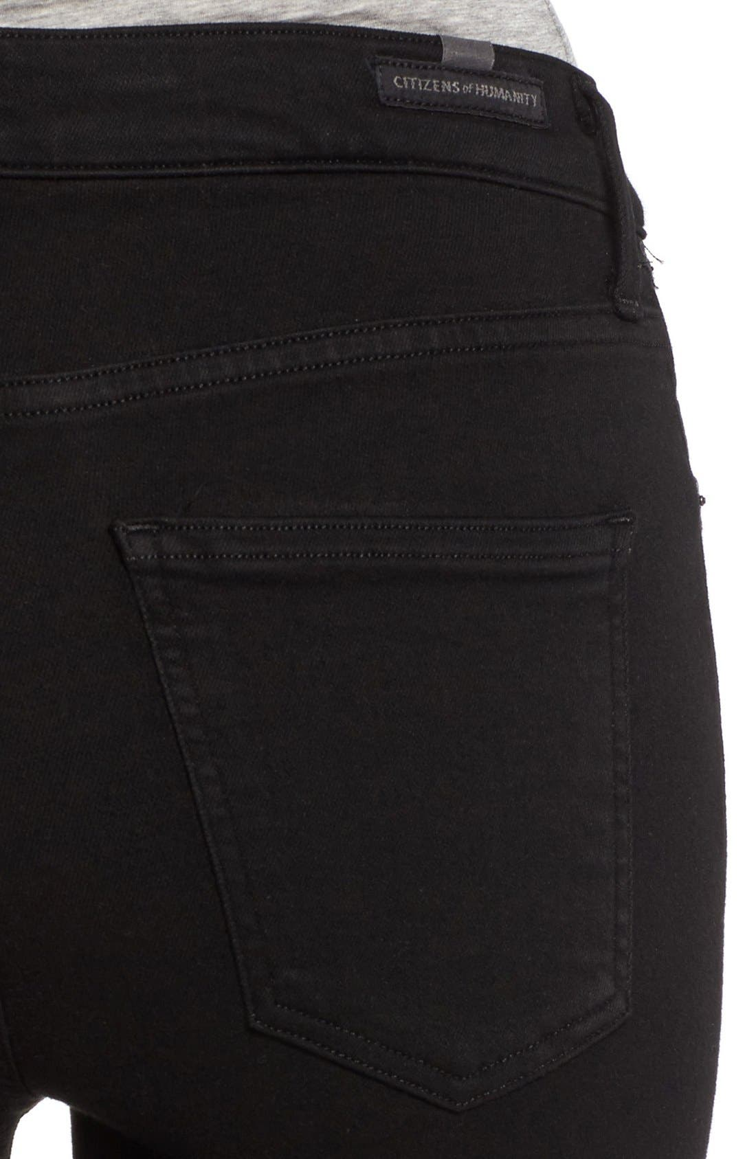 Rocket High Rise Crop Skinny Jeans,                             Alternate thumbnail 4, color,                             All Black