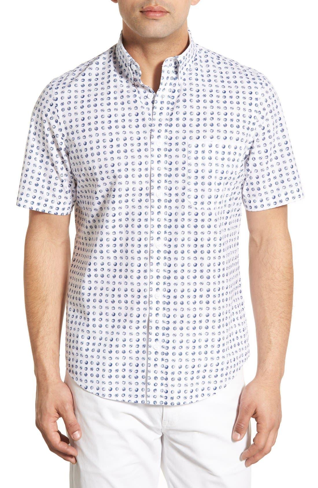 Nordstrom Men's Shop Slim Fit Dot Print Sport Shirt