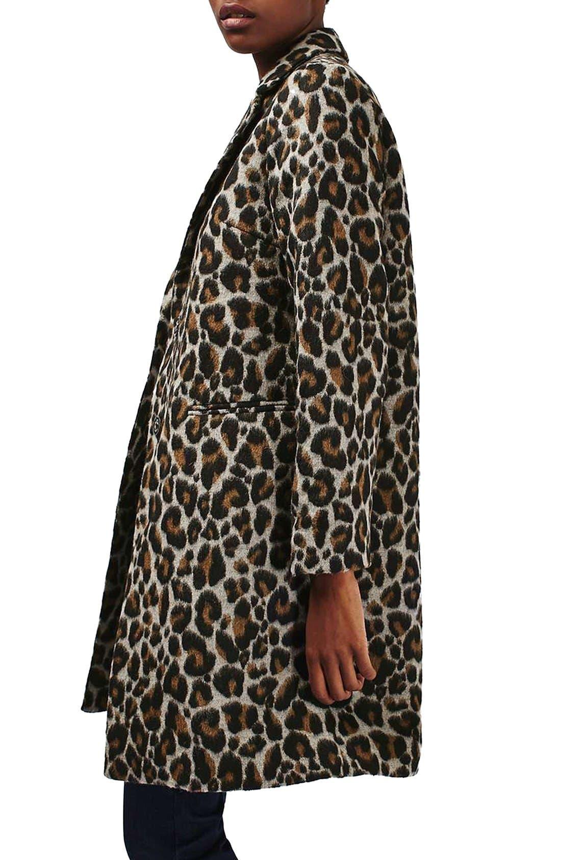 Alternate Image 4  - Topshop Leopard Print Car Coat