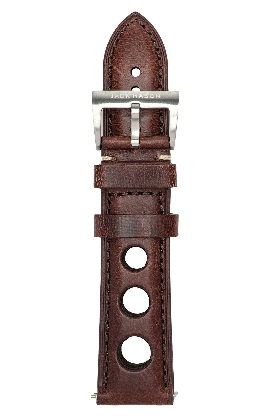 Perforated Leather Strap, 22mm,                         Main,                         color, Brown