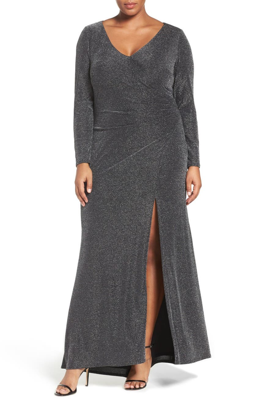 $168 24W Vince Camuto Long Sleeve Side Tuck Sparkle Mesh Gown ...