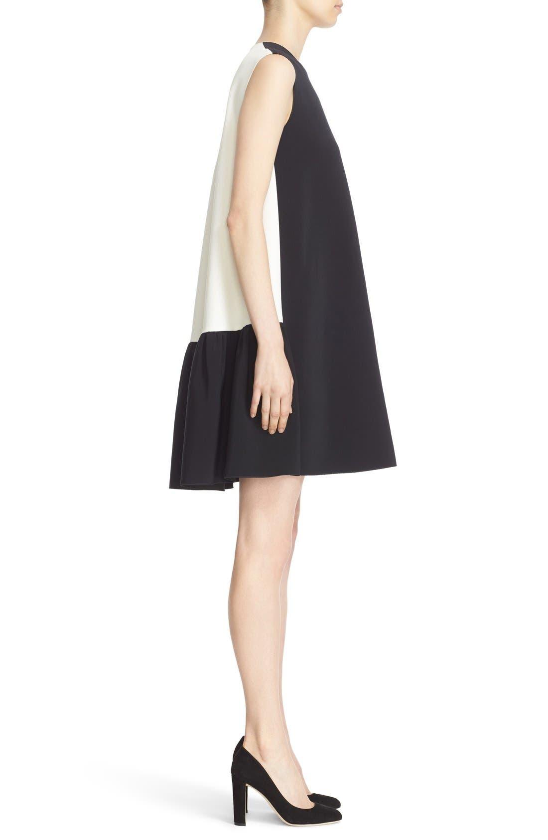 Fuji Colorblock Ruffle Hem Trapeze Dress,                             Alternate thumbnail 5, color,                             Black/ White
